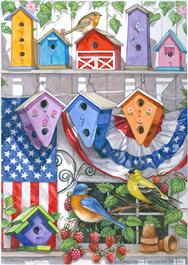patriotic painting with birdhouses on garden fence