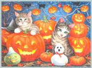 Jackolanterns, cats, ghosts, halloween