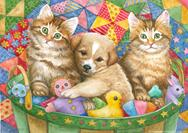 Cute kittens and puppy in toy basket with quilt