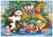 Christmas tree with rocking horse, cats, puppy and toys
