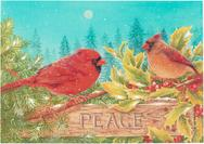 cardinals, holly, evergreen, peace