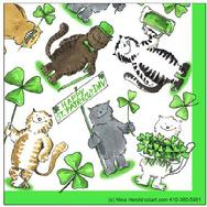 humorous St. Patrick's Day Cats with clovers and steins