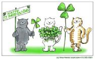 Irish cat card design for St. Patrick's Day with clovers