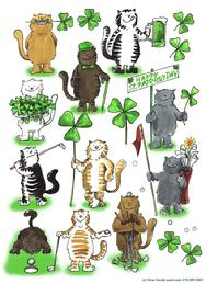 humorous St. Patrick's Dat Cats golfing and with clovers