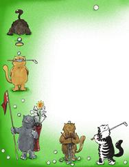 golf, cats, whimsical