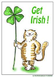 Get Irish card design with cat with clover