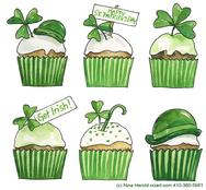 St. Patrick's Day cupcake design with clovers, cap, Irish signs