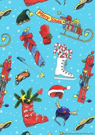 ski, wrap, Christmas, all-over