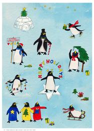 Christmas penguins with lights, stars, sleds, candy canes, skates, igloo