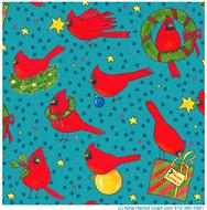 Cardinals, pattern, stars, presents, ornaments, wreaths