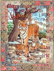 Siberian Tiger and cubs with intricate border