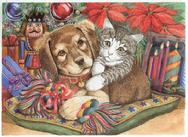 Dog and Cat on pillow in front of Christmas Tree