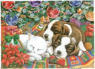 Sleeping cat and puppies in front of the Christmas Tree