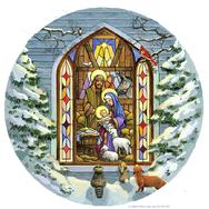 Nativity, round, stained glass, church, animals
