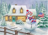 patriotic snowman, red white and blue, scarf and cap