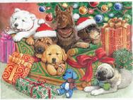 6 Puppies in front of the Christmas Tree with presents