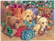 3 adorable lab puppies in front of the Christmas Tree with Presents