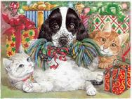 Cats and dog with presents and toy