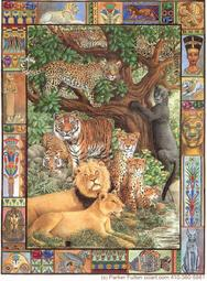 wildcats, tigers, lions, panther, leopards, intricate border