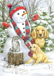 Snowman with Goldens and Cat on Stump