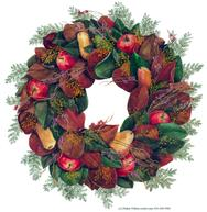 magnolia wreath, leaf, fall, apples, pears