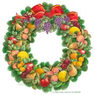 Fruit wreath with greenery, apples, pears, plums