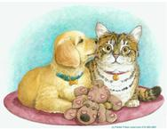 adorable pup and kitten on rug with toy