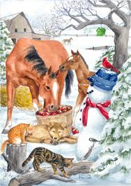 Christmas Horses with snowman and cats and puppy