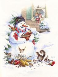 snowman, children, animals, birds