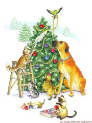 Dogs, cats, birds, mouse, ferret trimming Christmas Tree