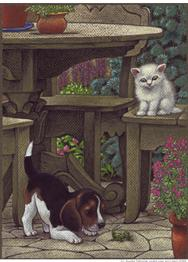 Pup and kitten in the garden with cricket