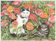 Cats, floral
