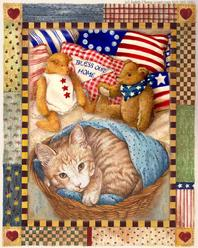 Kitten and teddybears with country border patriotic