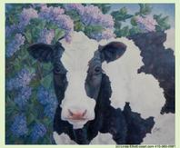 Holstein Cow in Lilacs