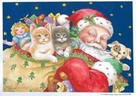 Santa with toy sack and two kittens