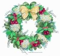 wreath, hydrangea, berries, greenery