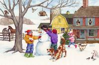 snowman, farm, children, dogs, birds, horses, barn