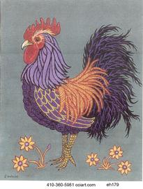One Handsome Rooster Painting by Edie Hopkins