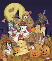 Halloween dogs and cats by Mary Badenhop