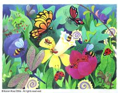 Garden, bugs, butterlies, ladybugs, dragonflies, worms, ants, frog