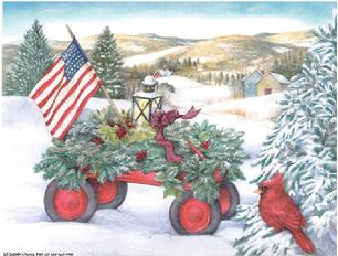 Patriotic, Wagon, Flag, Cardinal, Winter, Snow