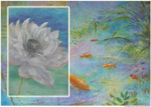 waterlily with gold fish in pond koi