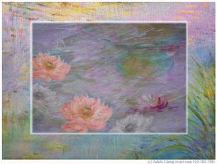 waterlilies on purple