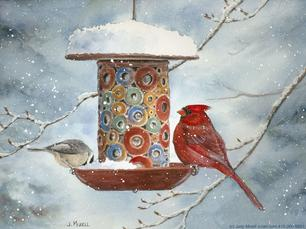 Cardinal, chickadee, bird feeder, winter