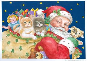 Santa with toy bag and kittens