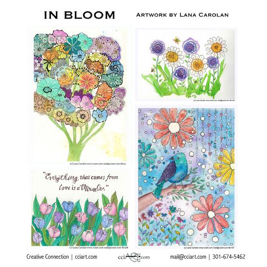 Whimsical floral designs including a bouquet, and sweet little blue bird and verse.