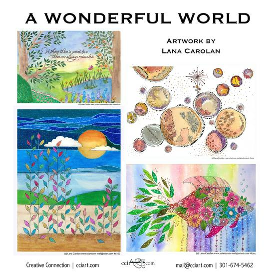 Inspirational Whimsical paintings by Lana Carolan including a floral fish, the solar system and peaceful water scenes.