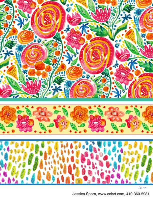 All Over Whimsical Floral collection including orange roses and lots of color