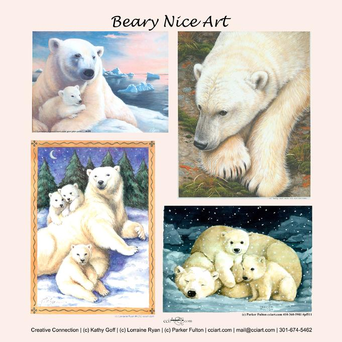 Four Beautiful Polar Bear paintings, three with cubs.