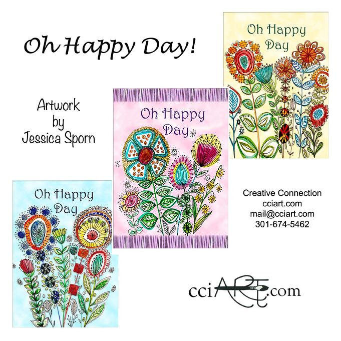 A set of three Fun Whimsical Happy Day Florals